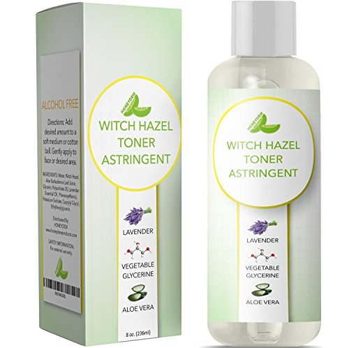 (Witch Hazel Toner for Face Alcohol Free Astringent with Pure Lavender Essential Oil & Aloe for Oily Acne Prone + Dry Mature Sensitive Skin to Cleanse + Refresh Skin Natural Skin Care for Men & Women)