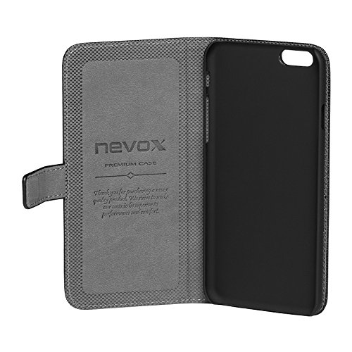 Nevox 1270 Ordo Book Tasche in schwarz-grau für Apple iPhone 6 Plus