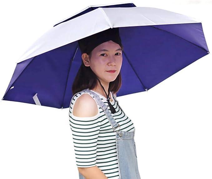 KINJOHI Parapluie Chapeau P/êche Double Couche Pliable Auvent Ventil/é Protection UV Coupe-Vent Imperm/éable /Étanche Parapluie Bonnet V/élo Randonn/ée Camping Jardinage en Plein Air