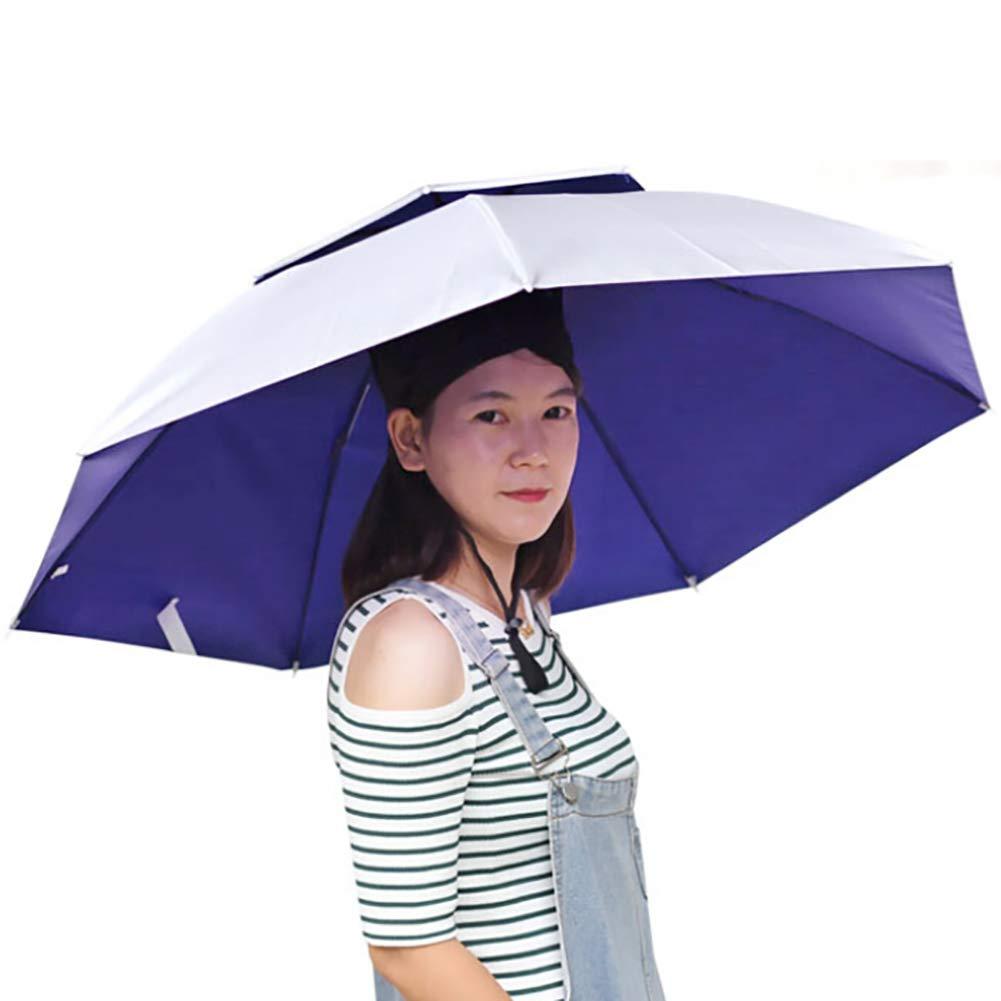 FUVOYA Chapeau de Parapluie Pliable Double Couche Chapeau chapellerie Pluie Protection Soleil
