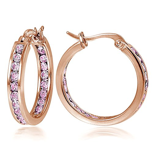 Rose Gold Flash Sterling Silver Pink CZ Inside Out Channel-Set 20mm Round Hoop Earrings