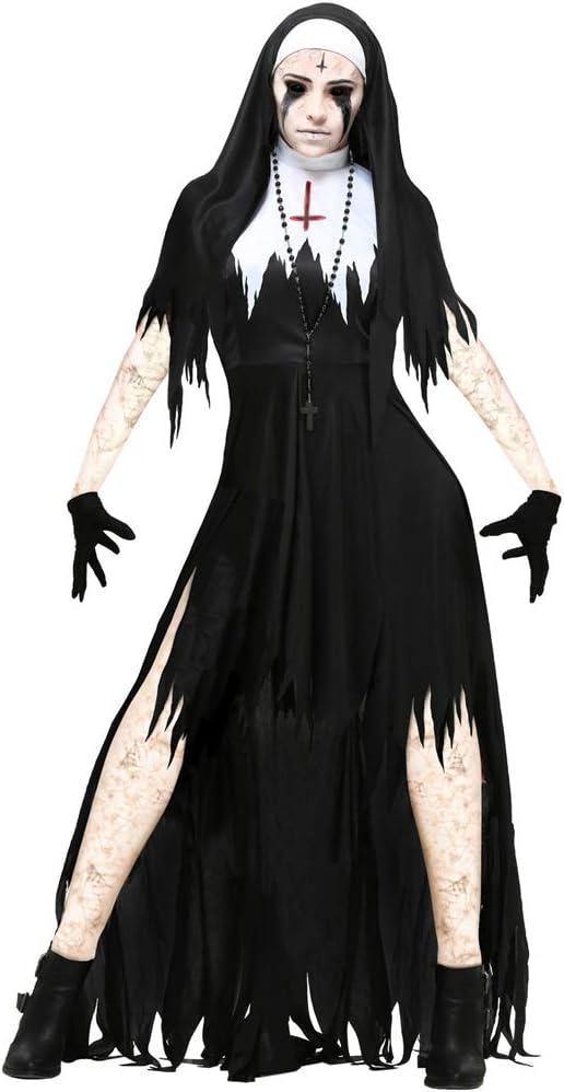 Disfraz de Cosplay de Monja de Halloween Mujeres Vampiro Negro ...