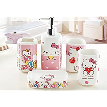 YOURNELO Cute Doraemon Hello Kitty Bathroom Accessories Set Of 5 Pcs (Pink)