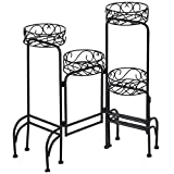 Heavy Duty 4 IN 1 Metal Flower Pot Rack Plant Display Stand Shelf Holder Garden