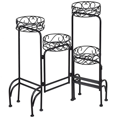 Giantex Flower Pot Rack Heavy Duty Metal Garden Patio Decorative Shelf Holder Plant Display Stand 4 in 1 (Narrow Plant Stand)