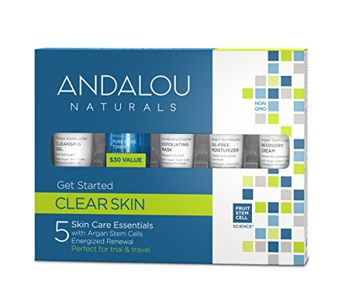 Andalou Naturals Clear Skin Get Started Kit, 5 Piece, Includes Cleansing Gel, Toner, Exfoliating Mask, Moisturizer Argan Cream using Willow Bark and Kombucha, for Oily and Overactive Skin