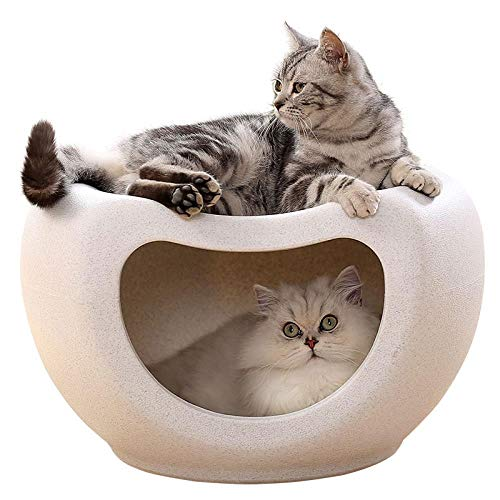 NAMBM Multi-Function Pet Cat Bed Kitty Warm House Cool Stool Chair Sturdy Durable Furniture Kitten House Beds Large Space Waterproof Pet House, White