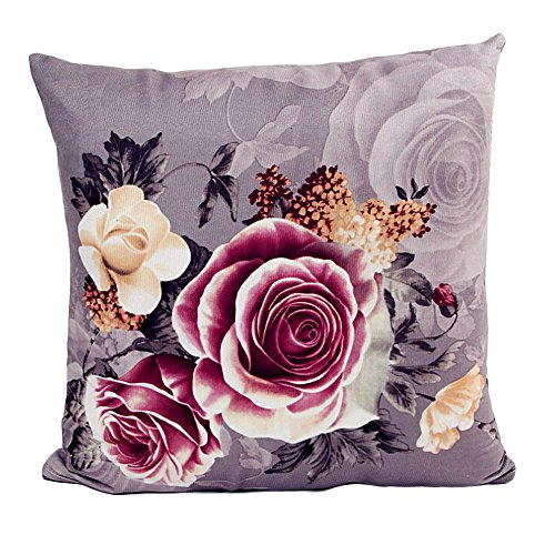 Kinghard Printing Dyeing Peony Sofa Bed Home Decor Pillow Case Cushion Cover (Gray)