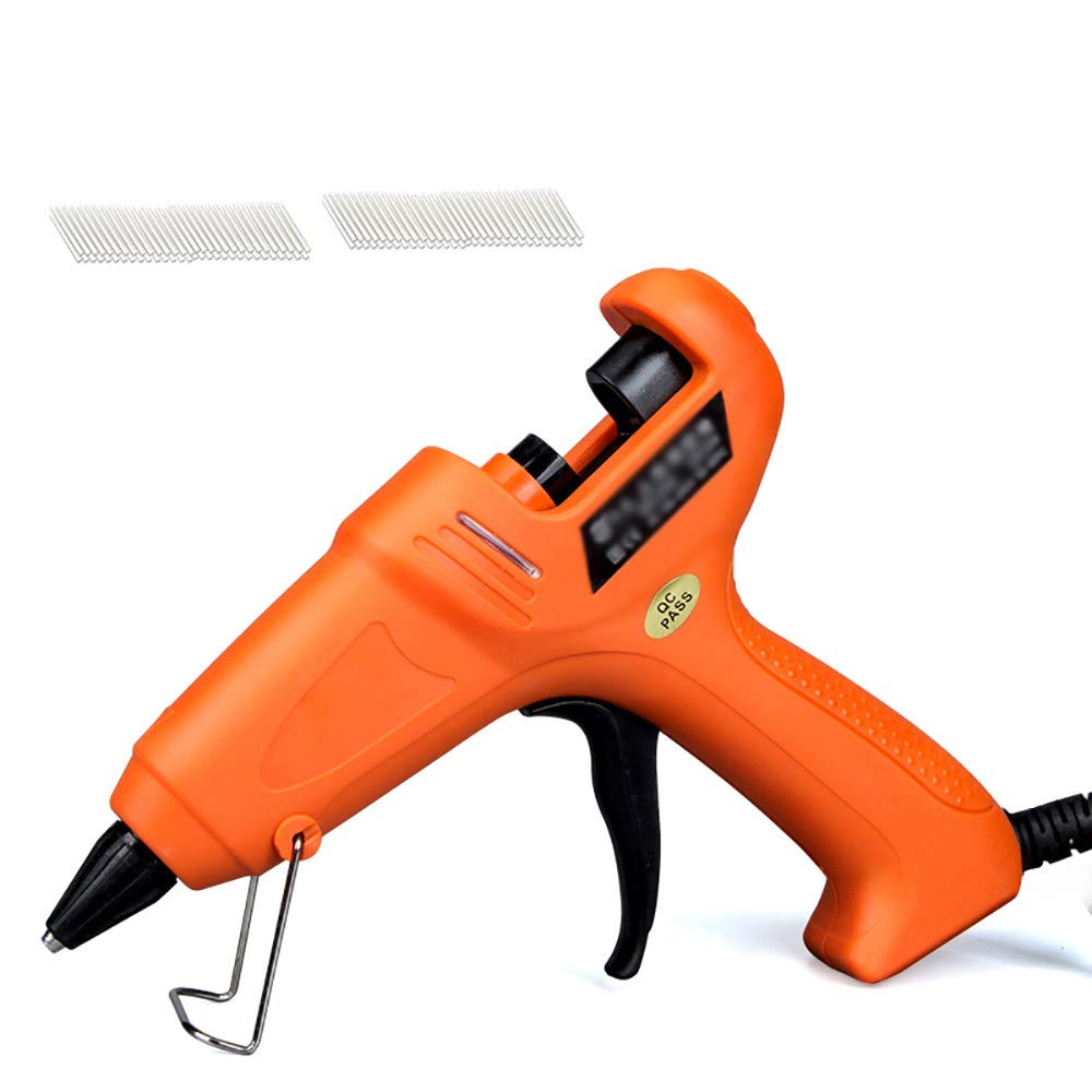Hot Melt Glue Gun/Electric Hot Melt Glue Gun, Aluminum Alloy Nozzle Manual Universal Household Diy, Craft, Home, Small Repair, Cloth, Wood, Glass, Card and Toy,Orange