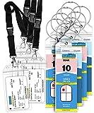 GreatShield Luggage Tags, ID Batch Holder Weatherproof Zip Seal & Steel Loops for Royal Caribbean and Celebrity Cruise (8 Tags + 4 ID Holders)