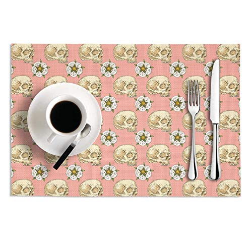 PVC Placemats Set of 2 Pink Skull Cross with Rose Flower Heat-Resistant Non-Slip Kitchen Tablemats for Dining Table ()