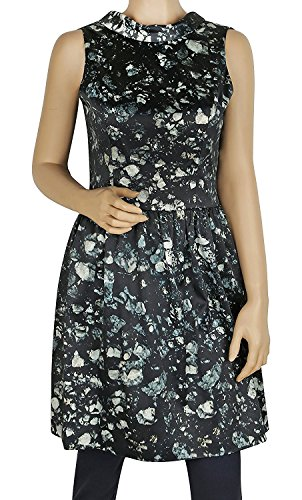 Skirted Badgley Back Badgley Mischka Dress Green Mischka Open Floral Sleeveless Cv70g5n6