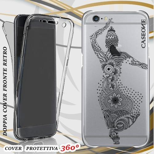 CUSTODIA COVER CASE BALLO MANDALA PER IPHONE 6 FRONT BACK TRASPARENTE