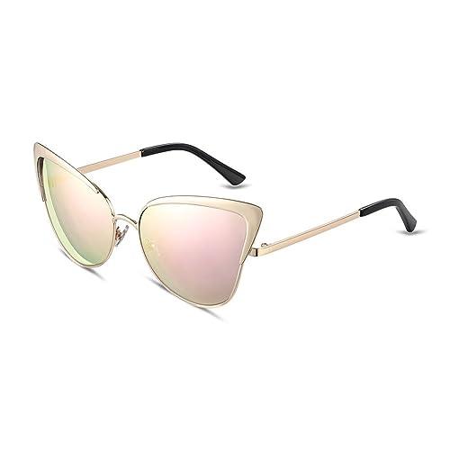 iLove EU Damen Sonnenbrille Retro Vintage Vollrand Metallrahmen Aviator Frosch Spiegel Brille Sonnenbrillen Pink Gläser QN8e6ZS9Z8