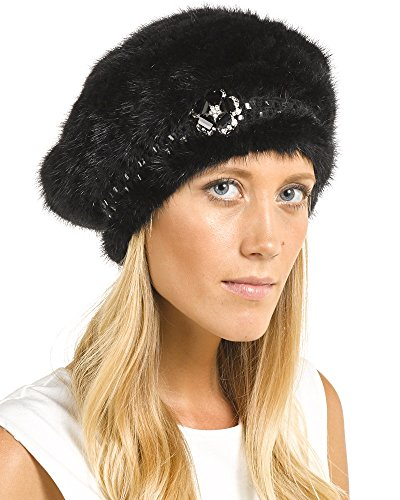 Frr Nadine Knit Mink Beret in Black with Brooch