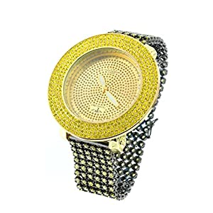 New Mens Techno Pave Fashion Casual Black & Yellow Watch Japanese Quartz Crystal