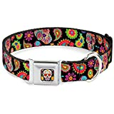 Buckle Down Seatbelt Buckle Dog Collar - Bobo Sugar Skull/Paisley Black/Multi Color - 1.5'' Wide - Fits 18-32'' Neck - Large
