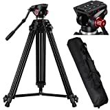 AW 72″ Pro Portable DV Video Camera Tripod Steady Stand Fluid Damping Head Kit w/ Bag 33lbs Capacity