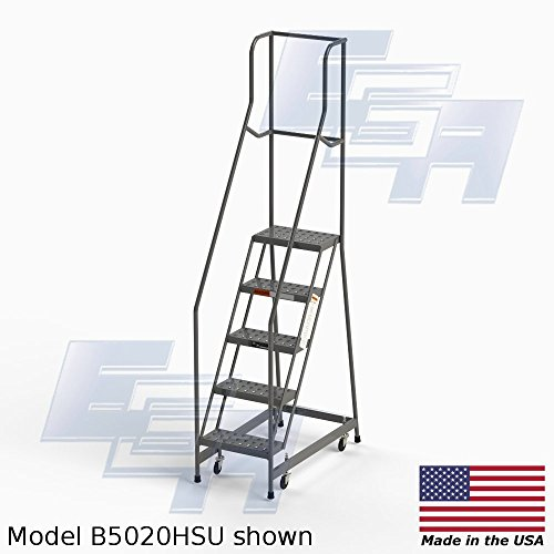 FULLY ASSEMBLED 5-step Steel Industrial Rolling Ladder, EGA MB5020HSU, 16