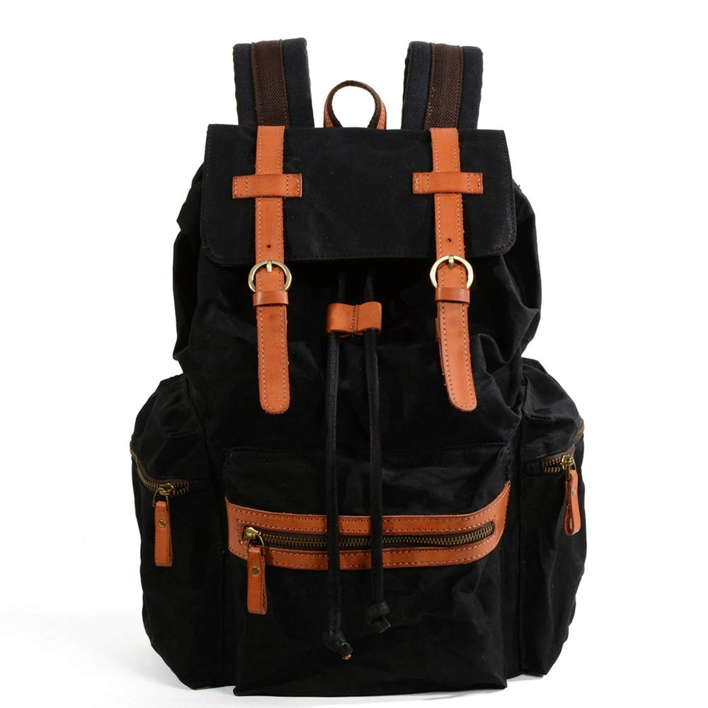 DCDC Zaino, Zaino Backpack Zaino Zaino Casual Uomo e Donna in Pelle Laptop Backpack,nero
