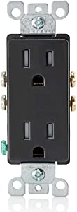 Leviton T5325-E 15 Amp 125 Volt, Tamper Resistant, Decora Duplex Receptacle, Straight Blade, Grounding, Black