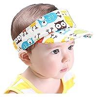Woopoo Baby Hat Summer Sun Hat Sunshade Top Hat Animal Image Visor Child Owl Pattern Visor Bird Pattern Visor Elephant Pattern Visor Beach Cap for Kids Hats Sun Protection (owl)
