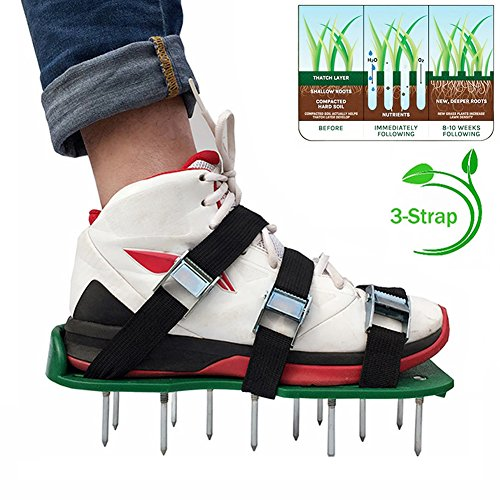 Alotm Lawn Aerator Shoes with Adjustable Zinc Alloy Buckles and 3 Straps, Heavy Duty Spiked Sandals Shoes Garden Tool for Aerating Your Lawn or Yard - One Size Fits All Men and Women by Alotm (Image #8)