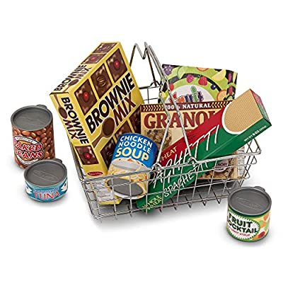 Melissa & Doug Let's Play House! Grocery Basket with Play Food, Great Gift for Girls and Boys - Best for 3, 4, and 5 Year Olds & Let's Play House Fridge Fillers: Toys & Games