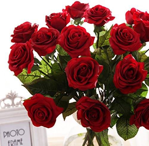 18 Fleurs Artificielles de T/ête Bouquet de Rose Faux Soie Floral Rose Fleurs pour DIY Accueil Nuptiale F/ête De Mariage Festival Bar D/écoration Jardin,Poudre de p/êche Pauwer 2pcs