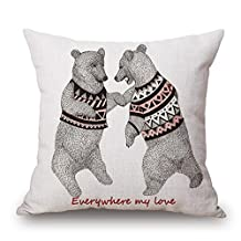 Pillowcases Decorative Cartoon Animal Standard Size 18x18 Inch Embroidered Throw Pillow Covers Set Linen Square Cushion Cover Cotton for Sofa,Bed,Chair,Auto Seat,Office Seat,Home Decorative (B)
