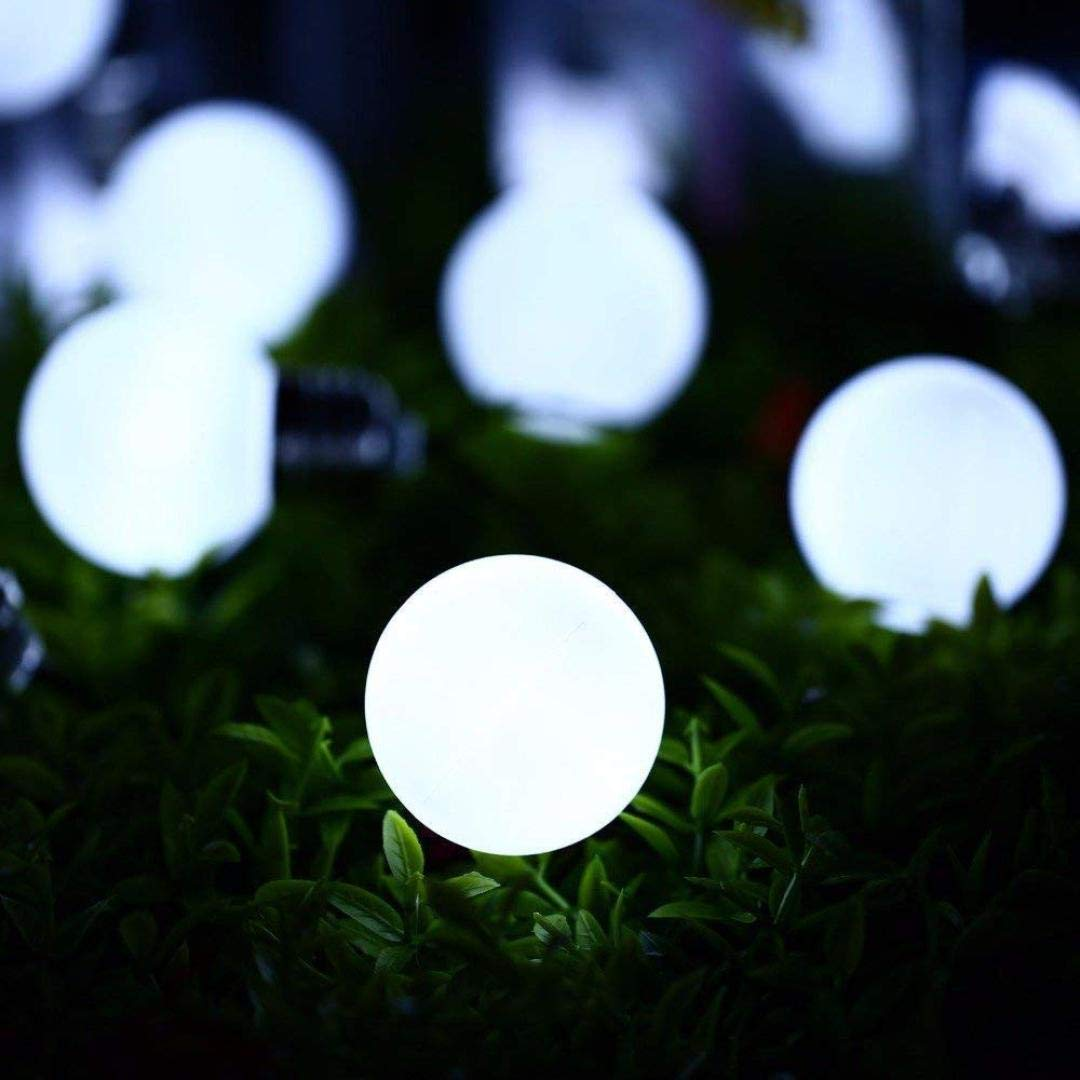 H+K+L 10LED Solar Powered Environment-Friendly String Light Bulb String Lamp Beads Wedding Party Home Decoration (Cold White, A)