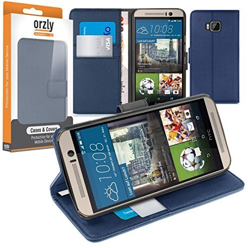 HTC ONE M9 Case, Orzly Multi-Function Wallet Stand Case for HTC ONE M9 Smartphone (Original 2015 Model - Full Size Version) - Blue Leather Effect Wallet Style Phone Case with Integrated Stand (Htc One Best Phone Ever)