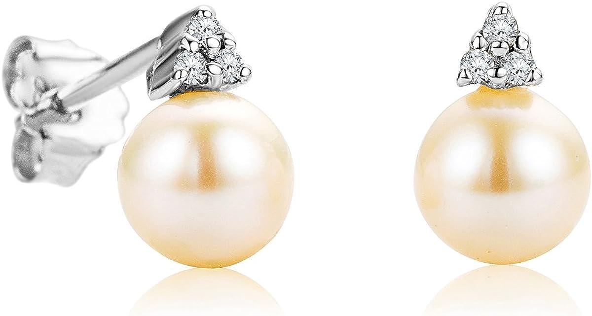 Pendientes Orovia Mujer Pendientes Blanco Perlas de Agua Fresca 9 ct/375 Oro Blanco con Diamantes Brillante Corte 0,04 ct