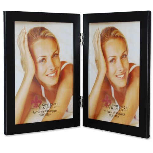 Burl Picture Frame - Lawrence Frames Black 5 by 7 Hinged Double Metal Picture Frame