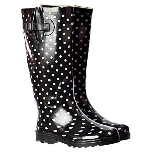 Onlineshoe FBA - Funky Flat Wellie Wellington Festival Rain Boots - Assorted Colours Polka Dot