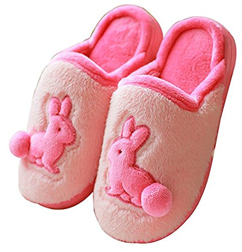 Blubi Womens Plush Closed Toe Bunny Slippers Warm Cute Slippers Rose UbvXWMNaG