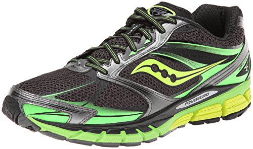 Saucony Men's Guide 8 Running Shoe,Black/Slime/Citron,7.5 M US