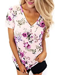 Fashion Story Women Short Sleeve V-Neck Floral Printed Blouse Casual Boho Tops T Shirt Tubics Blouse