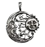 Sun Moon Windblown Celestial Pendant Necklace - Durable Pewter Design - Bonus Black Cord Included