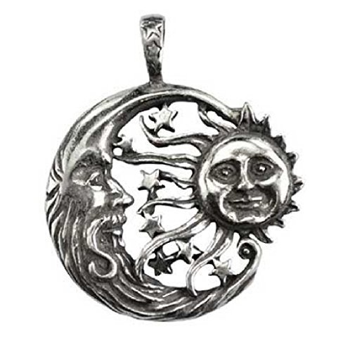 - Sun Moon Windblown Celestial Pendant Necklace - Durable Pewter Design - Bonus Black Cord Included