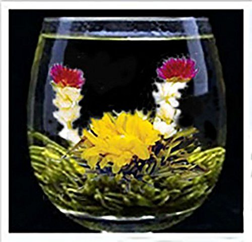Organic 100% Natural Raw 12 Blooming Green Tea Balls Gift Bag with Globe Amaranth , Jasmine and Marigold Flowers