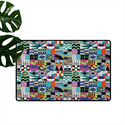 RenteriaDecor Mid Century,Anti-Slip Doormat Mix of Various Different Geometric Shapes in Squares Funky Sixties Revival 18