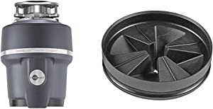 InSinkErator Evolution Compact 3/4 HP Compact Garbage Disposer & QCB-AM Anti-Microbial Quite Collar Sink Baffle for Evolution Series, Black