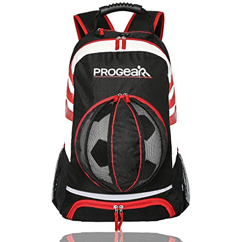 ProGear Soccer Backpack w/Ball Pocket - Sports Gym Bag Holds Shoes, Cleats, Water Bottles & Athletic Equipment - Comfort Fit Adjustable Straps - Unisex Design (Black/Red) (Italy Training Jersey)