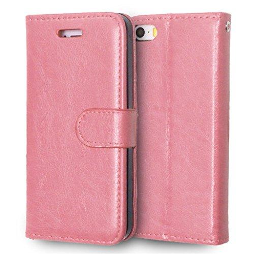 iPhone 5 / 5S Hülle, Apple iPhone 5 / 5S Hülle Lifetrut®[ pink ] Schutzhülle Flip PU Ledertasche Ständer Schutzhülle Tasche Hülle Case Cover mit Kreditkartensteckplätze für Apple iPhone 5 / 5S
