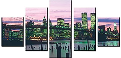 Wowdecor Canvas Prints 5 Pieces Multiple Pictures Wall Art - 5 Panels Buildings and Railroad Tracks Giclee Pictures Painting Printed on Canvas, Posters Wall Decor Gift - UNFRAMED (Large)
