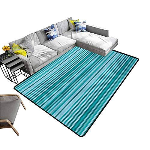 (Floor Mat Home Decoration Supplies Striped,Long Narrow Linear Bands Modern Streaks Design Geometric Grids Graphic Print,Teal Navy Blue 48