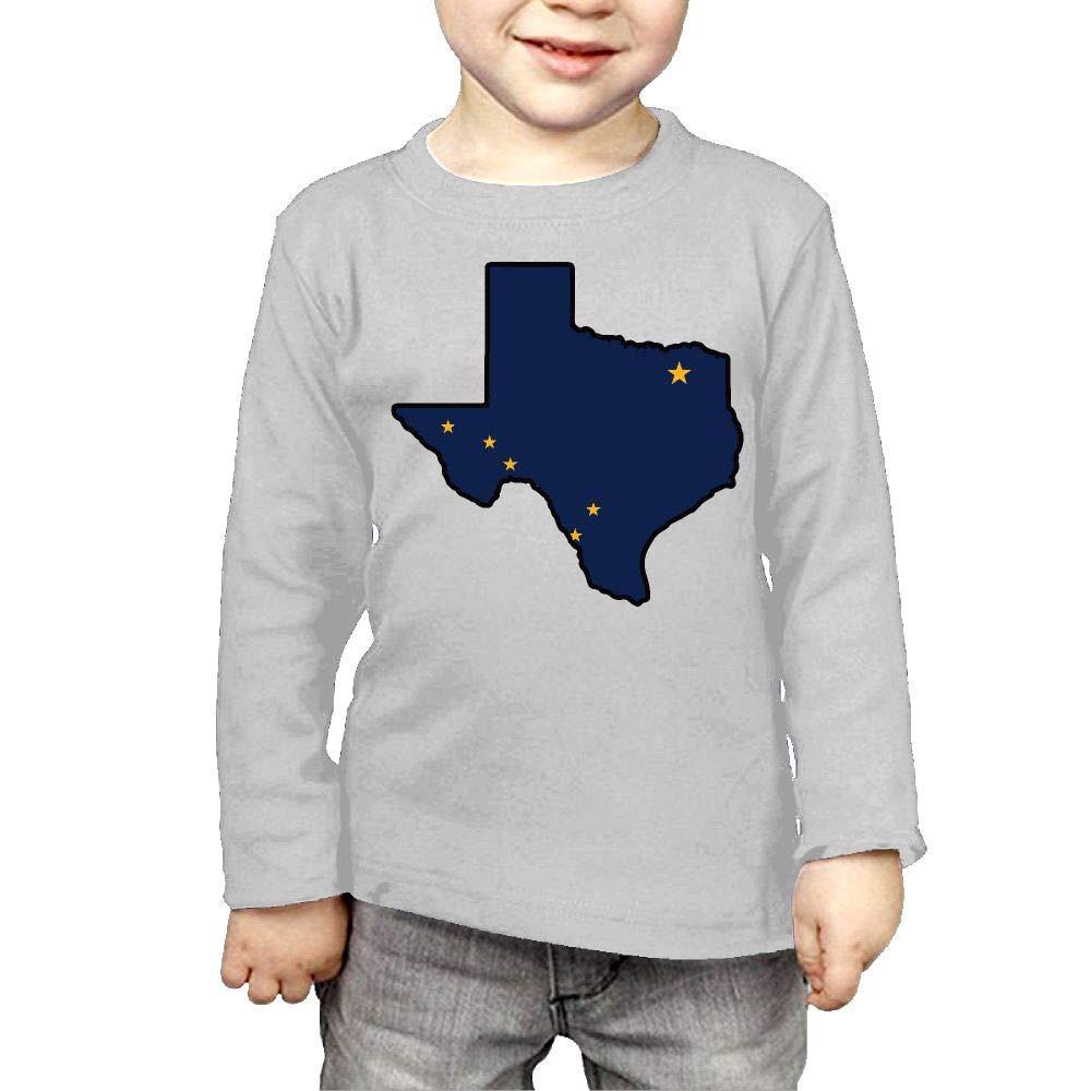 CERTONGCXTS Toddler Alaska Flag Texas Map ComfortSoft Long Sleeve Tee