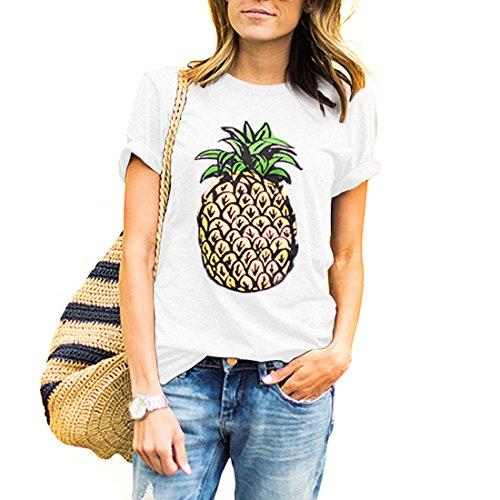 Weigou Women T Shirt Summer Pineapple Printed Short Sleeve Tops Funny T Shirt Girls Tees (L, - Pineapple Tee