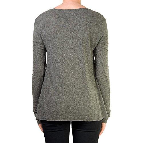 American Vintage - Camiseta de manga larga - Cuello redondo - Manga Larga - para mujer gris oscuro